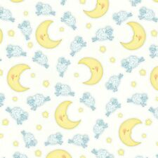 Fabric Baby Sheep Moons & Stars on White Flannel by the 1/4 yard BIN