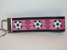 Pink Soccer Key Fob-Wristlet-Key Chain-Ribbon Keyfob keychain sports fitness