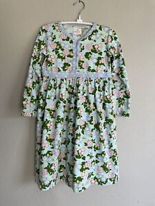Hanna Andersson Play Dress Size 10 (140) Long Sleeve Blue Green Floral (FLAWS)