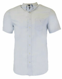 GANT Men's Light Blue Washed Pinpoint Oxford Short Sleeve 331511 Size M $80 NWT
