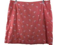 Talbots skirt size 18 coral pink flamingos embroidered cotton knee length A line