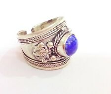 Old Tibet Silver blue lapis lazuli stone carved Amitabha Ring Religion One piece
