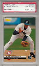 1994 Classic Alex Rodriguez SS Appleton Foxes Rookie Mariners Card #100 PSA 10
