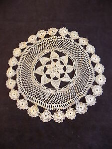 """BEAUTIFUL HANDMADE CROCHET DOILY 7"""" Diameter INTRICATE FLORAL WITHIN FLORAL"""
