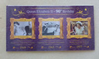 2016 NEW ZEALAND QEII 90tH BIRTHDAY 'HOLOGRAM' SET OF 3 STAMPS CARD