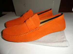 $495 nib AQUATALIA MADE in italy driving shoes orang suede woven size 9.5 m