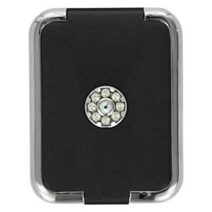 TOC Pill Box Black 3 Compartment Travel Pill Case With Swarovski Crystal Element
