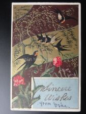 Glittered Art Nouveau Poppy & Birds Postcard: SINCERE WISHES c1906 by K&B serie