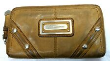 B MAKOWSKY Wallet ZIP AROUND CLUTCH BROWN LEATHER LARGE DISTRESSED