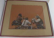 Big unique pastel original painting of 3 Native American men in ceremonial wear