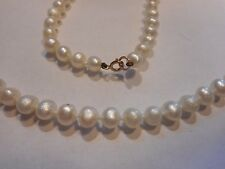 """14K Gold cultured 5mm Pearl 18"""" Necklace Choker Vintage Unused old stock mint"""