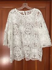 Lace Blouse White Guipure Crochet Bell Sleeve Tunic Top Boho Festival M L NEW