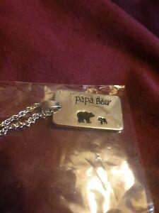 Papa Bear Silver Plated Charm chain