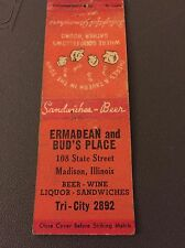 Ermadean And Bud's Place Madison Il Ill Illinois Matchbook Matchcover