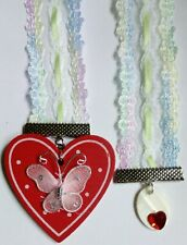 1 x pastel lace and Ribbon Soft Bookmark red  heart and butterfly design  (T4)