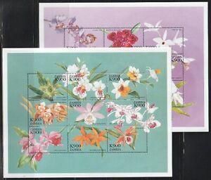 Zambia   1998   Sc # 762-63   Orchids   2  Sheet of 9   MNH   (54803)