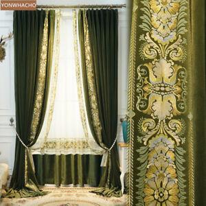 Retro dark green American velvet upscale cloth blackout curtain drape B805