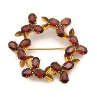 Vintage Gold Tone Brown Rhinestone Flower Wreath Fashion Brooch Scarf Lapel Pin