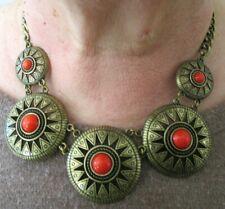 collier ethnique en cuivre cabochons perles en résine rouge bijou rétro 5264