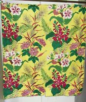 Vintage fabric remnant shrunketized cotton mid century flowers on yellow!