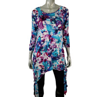 Kate & Mallory Womens Top Sz M Tunic Tie Sides 3/4 Sleeve Pullover Floral Purple