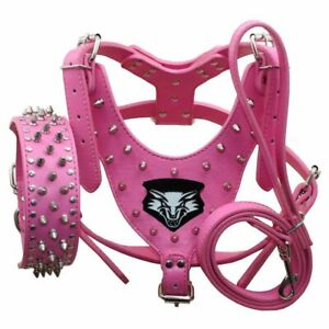 Leather Wolf Spiked Studded Dog Harness Collar Leash set for Pit Bull Terrier