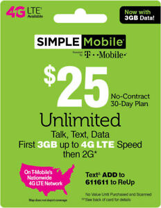 SIMPLE MOBILE Prepaid $25 Refill Top-Up Prepaid Card ,PIN / RECHARGE
