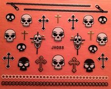 Nail Art 3D Decal Stickers Halloween Skull Cross Zipper JH088