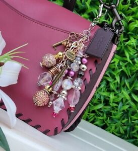 Custom bag jewelry CHARM purse Keychain GIFT crystal sparkle bead MK, COACH,D&B