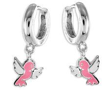 925 ECHT SILBER *** Kinder Vogel Creolen Ohrringe pink-weiß