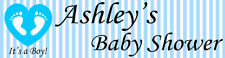 4ft Personalized Name Blue Boy Baby Footprints Heart Baby Shower Party Banner