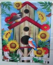 LARGE 28 X 36 SUMMER FLAG BIRD HOUSE W/FLOWERS NICE NEW FREE SHIPPING