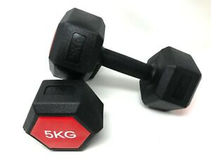 E-Deals Hexagon Dumbbells 2 x 5 Kg Set Fitness Exercise Weights Aerobic Home Gym