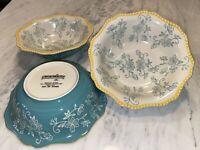 """4 Temptations Floral Lace Teal Soup Bowls   7.5"""""""