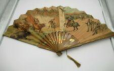 Antique Victorian Litho Paper & Wood Folding Fan w/ Bull Fighting Matador Scene