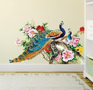 Wall Sticker For Living Room Peacock Birds Nature (Pvc Vinyl, Multicolor)