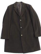 Hugo Boss Mens Cashmere wool Blend Black Overcoat Jacket Trench Coat Size 46R