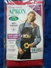 "Charles Craft Red Cross Stitch Apron 14 Count Aida Size 27"" x 28"""