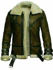 Dunkin Green Aviator B3 Bomber RAF Flight Real Sheep Skin Leather Jacket for Men