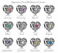 Authentic Pandora SIGNATURE HEART Openwork Birthstone Charm Beads CHOOSE MONTH
