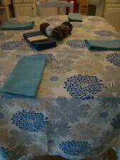Blue - Beige - Gray- Green Tablecloth with Two sets of Napkins and Decoration Ba