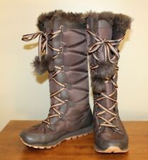 Nike Womens Tall Winter Boots Size 7.5 Brown Lace Up Faux Fur 333620-221 Shoes