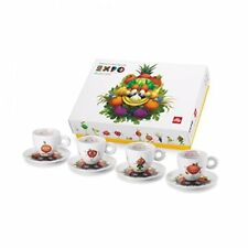 ILLY Art COLLECTION FOODY Set FOUR Espresso CUPS & SAUCERS 2015 EXPO Mascot NEW!