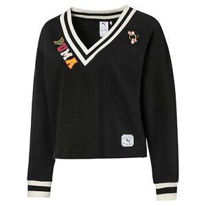 Puma Womens x Sue Tsai V-Neck Sweater Black Color Block Active Wear 595260-01