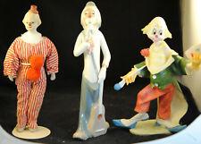 Casades Clown Figurine Holding Guitar Smelling Flower Plus 2 Other Clown Figures