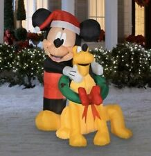 Disney Airblown Inflatable 5 FT Mickey Mouse & Pluto Santa Hat Christmas Wreath
