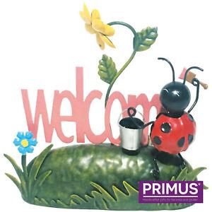 Primus Metal Ladybirds Welcome Garden Ornament Miniature Life