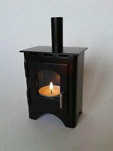 Wood-Burner tea light holder, Black , Metal case Stainless steel handle