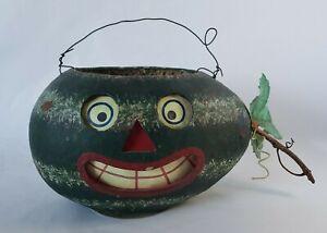 "Jamieson Studios VTG Paper Mache Watermelon Basket Smile Face Folk Art 5.5""x8.5"""