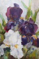 Original small oil painting on canvas Flowers Black  White Irises Impressionism